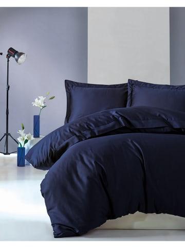 "Colourful Cotton Satijnen beddengoedset ""Elegant"" donkerblauw"