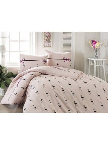 "Elizabed Beddengoedset ""Flamingo"" lichtroze"