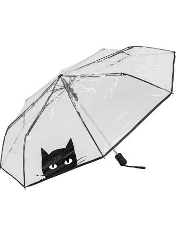"""SUSINO Taschenschirm """"Cat"""" in Transparent/ Schwarz - Ø 98 cm"""