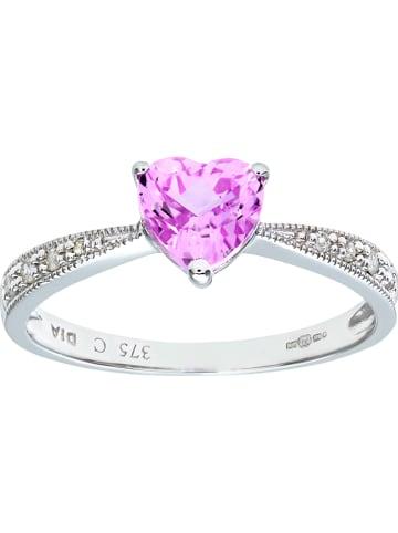 Diamant Exquis Witgouden ring met diamanten en zirkonia