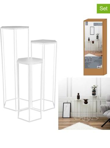 Rétro Chic 3er-Set Beistelltische in Weiß