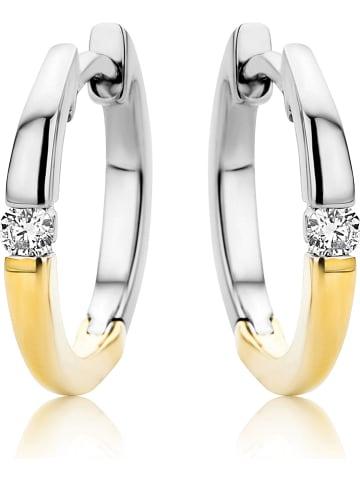 Revoni Witgouden/gouden creolen met diamanten