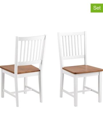 """AC Design Krzesła (2 szt.) """"Brisbane"""" w kolorze biało-jasnobrązowym - 43 x 89 cm"""