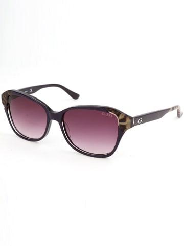 Guess Damskie okulary przeciwsłoneczne w kolorze fioletowo-brązowym