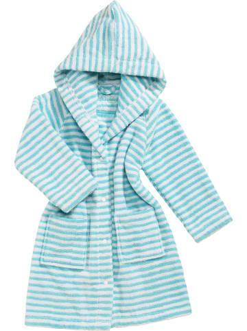 "Vossen Badjas ""Baby Stripe"" turquoise/wit"