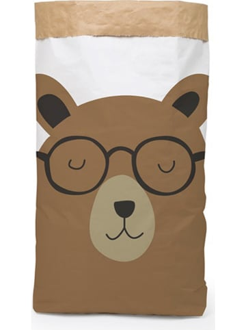 "The Wild Hug Opbergzak ""Bear"" wit/bruin - (B)60 x (H)90 x (D)13 cm"