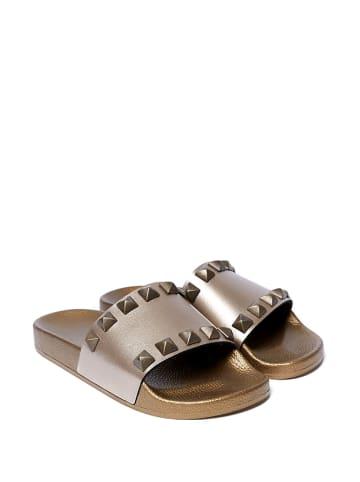 Mandel Slippers zilverkleurig
