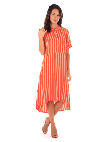 100% LIN Linnen jurk oranje