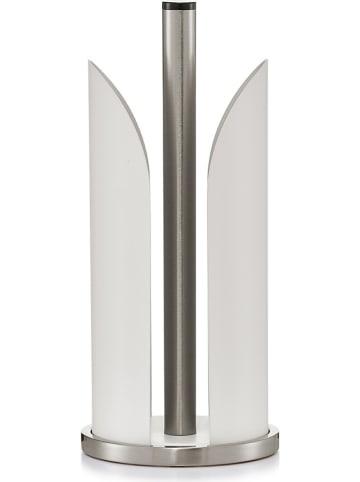 Zeller Keukenrolhouder zilverkleurig/wit - (H)30,5 cm