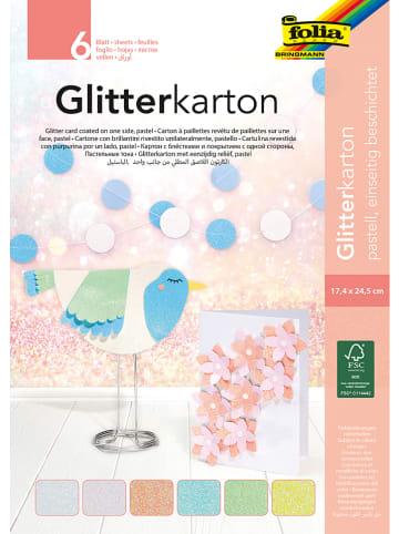 "Folia Glitterkarton ""Pastel"" meerkleurig - 6 vellen - (L)24 cm"