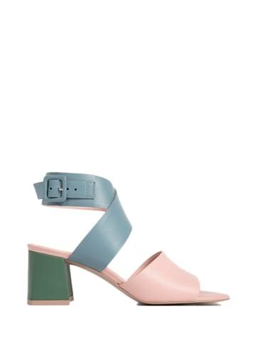 L37 Leder-Sandaletten in Blau/ Grün/ Rosa