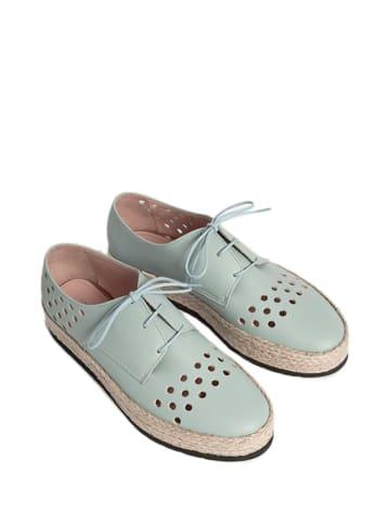 L37 Leren veterschoenen turquoise