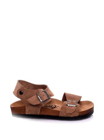 Moosefield Leren sandalen lichtbruin