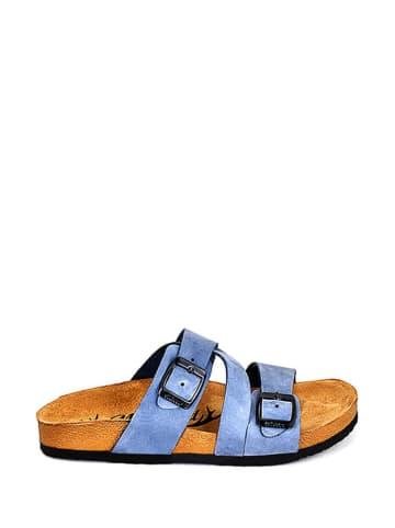 Moosefield Leder-Pantoletten in Blau
