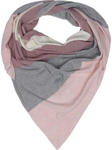 Zwillingsherz Tuch in Rosa/ Grau/ Beige - (L)150 x (B)120 cm