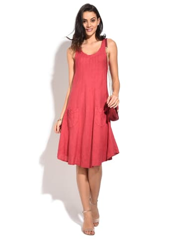 William de Faye Leinen-Kleid in Rot