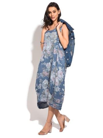 Le Jardin du Lin Lniana sukienka w kolorze niebieskim