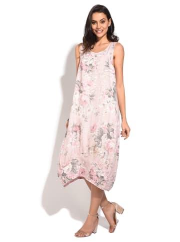 Le jardin de Julie Lniana sukienka w kolorze kremowo-różowym