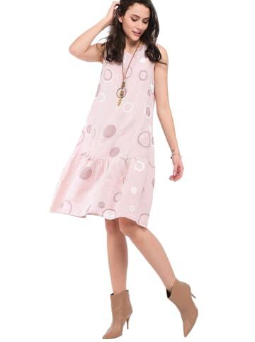 Le Jardin du Lin Lniana sukienka w kolorze jasnoróżowym