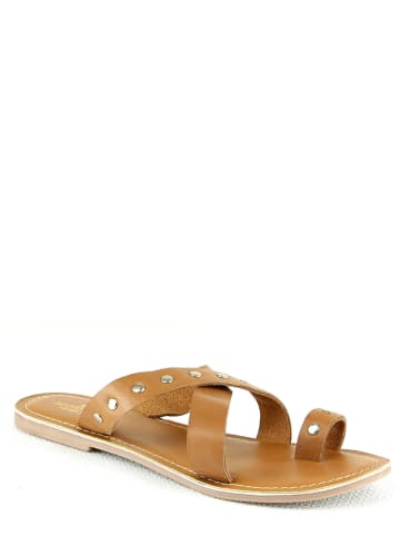 Manoukian shoes Leren slippers bruin