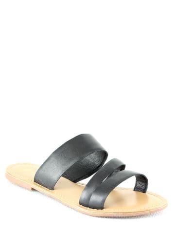 Manoukian shoes Leren slippers zwart