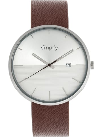 """Simplify Quarzuhr """"The 6400"""" in Braun/ Silber/ Weiß"""