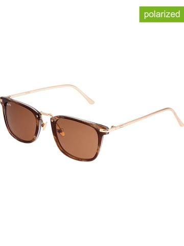 """Simplify Okulary przeciwsłoneczne unisex """"Theyer"""" w kolorze brązowo-złotym"""