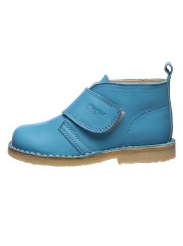 POM POM Leder-Boots in Blau