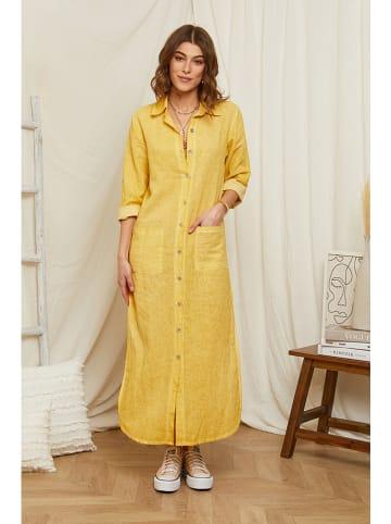 Rodier Lin Linnen jurk geel