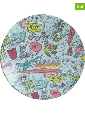 """Overbeck and Friends 2er-Set: Snackteller """"Streetart"""" in Hellblau - Ø 15 cm"""