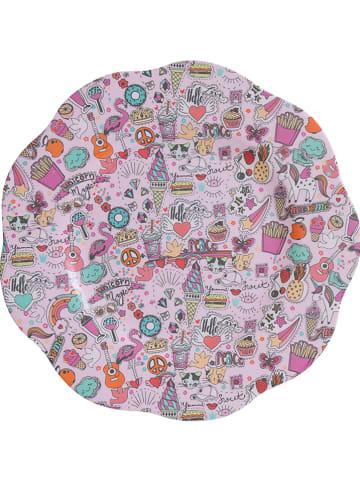 Overbeck and Friends Talerz w kolorze różowym ze wzorem - Ø 26 cm