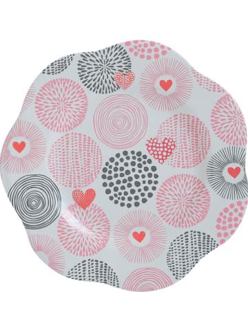 "Overbeck and Friends Dessertbord ""Valentine"" lichtroze/grijs - Ø 22 cm"