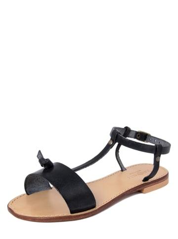 SUMMERY Leder-Sandalen in Schwarz