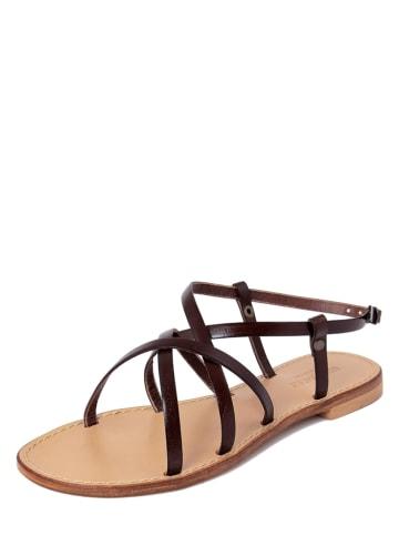 SUMMERY Leren sandalen donkerbruin