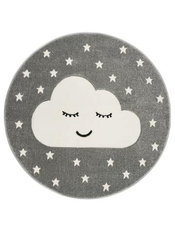 """Kids love rugs Geweven tapijt """"Smiley Cloud"""" grijs/wit"""