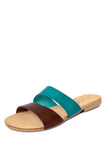 Lionellaeffe Skórzane klapki w kolorze brązowo-turkusowym
