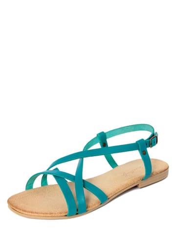 Lionellaeffe Skórzane sandały w kolorze turkusowym