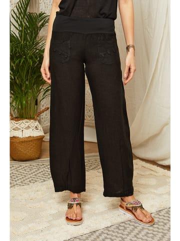 Lin Passion Lniane spodnie w kolorze czarnym