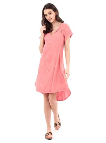 100% LIN Leinen-Kleid in Koralle