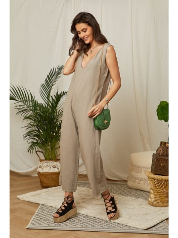 Lin Passion Linnen jumpsuit taupe