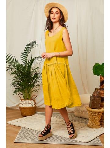 Lin Passion Leinen-Kleid in Gelb