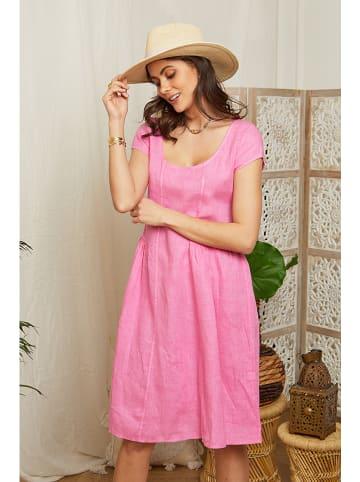 Lin Passion Lniana sukienka w kolorze fuksji