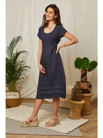 Lin Passion Leinen-Kleid in Dunkelblau