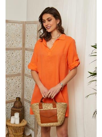 Lin Passion Leinen-Kleid in Orange