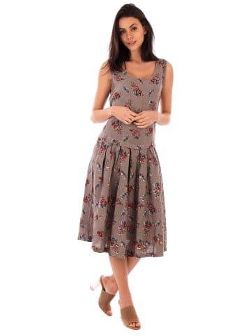 Lin Passion Lniana sukienka w kolorze szarobrązowym