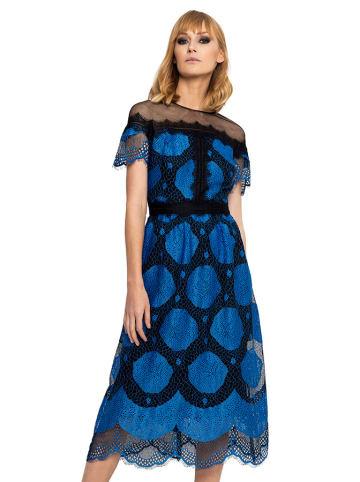 Deni Cler Sukienka w kolorze czarno-niebieskim