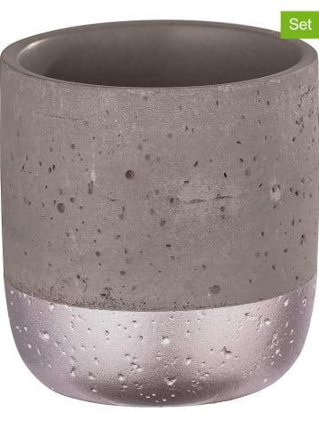 """Wenko 2-delige set: tandenborstelbekers """"Beton"""" lichtroze/grijs - (H)9 x Ø 8,5 cm"""