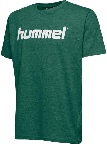 """Hummel Koszulka """"Logo"""" w kolorze zielonym"""