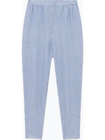 """American Vintage Linnen broek """"Mukadance"""" lichtblauw/wit"""