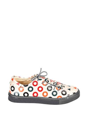 Streetfly Sneakersy w kolorze kremowo-czarnym ze wzorem
